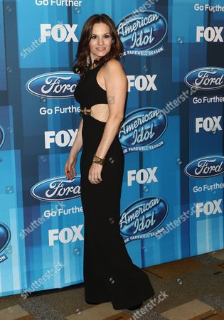 "Stock Image of Kara DioGuardi arrives at the ""American Idol"" farewell season finale at the Dolby Theatre, in Los Angeles"