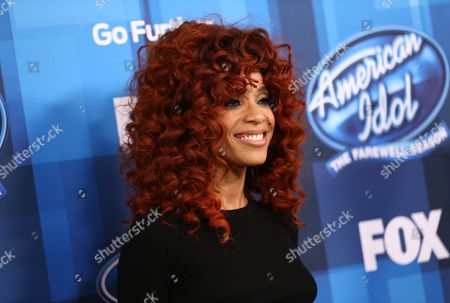 "Tamyra Gray arrives at the ""American Idol"" farewell season finale at the Dolby Theatre, in Los Angeles"