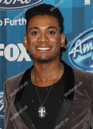 """Stock Picture of Joshua Ledet arrives at the """"American Idol"""" farewell season finale at the Dolby Theatre, in Los Angeles"""