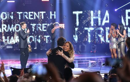 "Stock Picture of Ryan Seacrest, from left, Harry Connick Jr., Jennifer Lopez, La'Porsha Renae, and Trent Harmon at the ""American Idol"" farewell season finale at the Dolby Theatre, in Los Angeles"