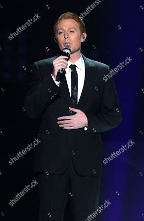 """Clay Aiken performs at the """"American Idol"""" farewell season finale at the Dolby Theatre, in Los Angeles"""