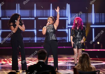 "Stock Photo of Jordin Sparks, from left, Kimberley Locke and Allison Iraheta appear at the ""American Idol"" farewell season finale at the Dolby Theatre, in Los Angeles"