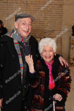 """From left, cast member Alan Mandell and actress Charlotte Rae pose backstage after during a staged reading of """"Enter Laughing, The Musical"""" to benefit Center Theatre Group at the Mark Taper Forum on in Los Angeles, Calif"""
