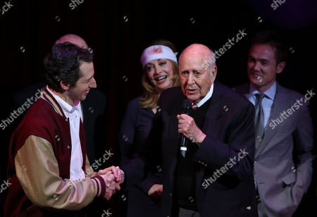 "From left, cast members Josh Grisetti, Sharon Lawrence, honoree Carl Reiner and cast member Kevin Odekirk at the curtain call for a staged reading of ""Enter Laughing, The Musical"" to benefit Center Theatre Group at the Mark Taper Forum on in Los Angeles, Calif"