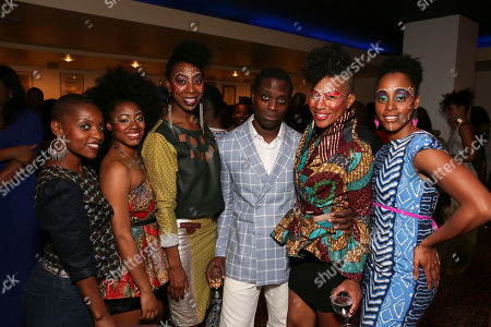 "From left, former cast member Aimee Graham Wodobode poses with cast members India McGee, Lauren De Veaux, Adesola Osakalumi, Oneika Phillips and Kafi Pierre pose during the party for the opening night performance of ""Fela!"" at the Center Theatre Group/Ahmanson Theatre on in Los Angeles, Calif"