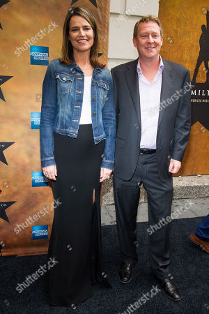 """Savannah Guthrie and Michael Feldman attend the Broadway opening night of """"Hamilton"""" at the Richard Rodgers Theatre, in New York"""