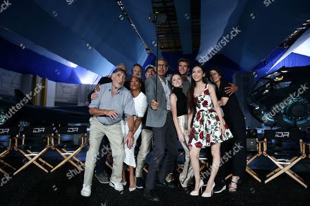 """Stock Image of Brent Spiner, Judd Hirsch, Vivica A. Fox, Bill Pullman, Director/Writer Roland Emmerich, Jeff Goldblum, Liam Hemsworth Maika Monroe, Grace Huang, Jessie Usher and Sela Ward seen at the """"Independence Day Resurgence"""" Global Production Event, in Albuquerque, New Mexico"""