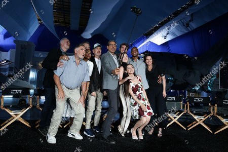 """Stock Photo of Brent Spiner, Judd Hirsch, Vivica A. Fox, Bill Pullman, Director/Writer Roland Emmerich, Jeff Goldblum, Liam Hemsworth Maika Monroe, Grace Huang, Jessie Usher and Sela Ward seen at the """"Independence Day Resurgence"""" Global Production Event, in Albuquerque, New Mexico"""
