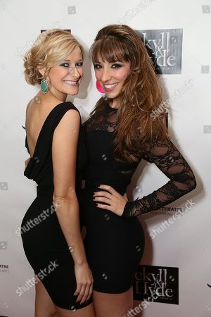 """From left, Cast members Dana Costello and Ashley Loren pose during the party for the opening night performance of """"Jekyll & Hyde"""" The Musical at the La Mirada Theatre for the Performing Arts, in La Mirada, Calif"""