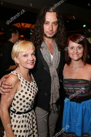 "From left, Cathy Rigby, Executive Producer, cast member Constantine Maroulis and Theresa Flemming pose during the party for the opening night performance of ""Jekyll & Hyde"" The Musical at the La Mirada Theatre for the Performing Arts, in La Mirada, Calif"