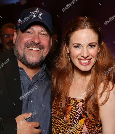 """From left, Composer Frank Wildhorn and cast member Teal Wicks pose during the party for the opening night performance of """"Jekyll & Hyde"""" The Musical at the La Mirada Theatre for the Performing Arts, in La Mirada, Calif"""