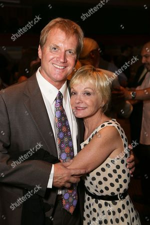 "From left, Tom McCoy, Executive Producer and Cathy Rigby, Executive Producer pose during the party for the opening night performance of ""Jekyll & Hyde"" The Musical at the La Mirada Theatre for the Performing Arts, in La Mirada, Calif"