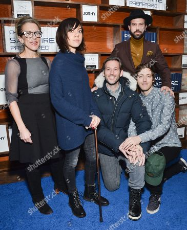 """Director Brett Gelman, center, poses with cast members Lauren Weedman, left, Aubrey Plaza, Brett Gelman and Thomas Middleditch at the """"Joshy"""" cast party hosted by Chase Sapphire Preferred during the 2016 Sundance Film Festival, in Park City, Utah"""