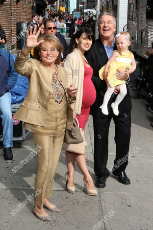 """From left, Barbara Walters, Hilaria Baldwin, Carmen Baldwin and Alec Baldwin arrive for the last taping of the """"Late Show With David Letterman"""" at the Ed Sullivan Theater, in New York"""