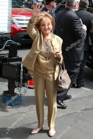 """Barbara Walters arrives for the last taping of the """"Late Show With David Letterman"""" at the Ed Sullivan Theater, in New York"""
