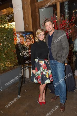 """Alison Sweeney, left, and Marc Blucas attend a screening for Hallmark Movies & Mysteries """"Operation Christmas"""" at The Gove on in Los Angeles"""