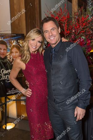 """Debbie Matenopoulos, left, and Mark Steines attend a screening for Hallmark Movies & Mysteries """"Operation Christmas"""" at The Gove on in Los Angeles"""