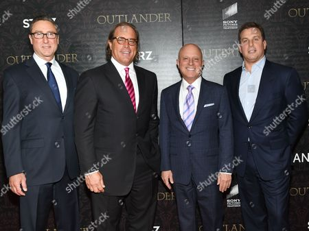 "Starz Managing Director Carmi Zlotnik, left, Sony Pictures Television Chairman Steve Mosko, Starz CEO Chris Albrecht and Starz Global Marketing and Product Planing President Jeffrey Hirsch Jeffrey Hirsch attends the ""Outlander"" Book Two World Premiere and After Party at the American Museum of Natural History, in New York"