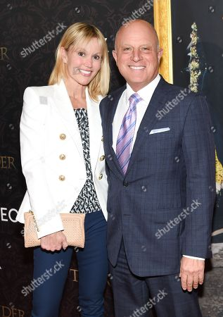 """Starz CEO Chris Albrecht and wife attend the """"Outlander"""" Book Two World Premiere and After Party at the American Museum of Natural History, in New York"""