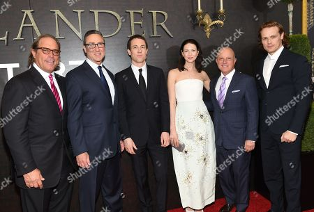 "Stock Picture of Sony Pictures Television Chairman Steve Mosko, left, Starz Managing Director Carmi Zlotnik, actor Tobias Menzies, left, actress Caitriona Balfe, Starz CEO Chris Albrecht and actor Sam Heughan attend the ""Outlander"" Book Two world premiere and after party at the American Museum of Natural History, in New York"