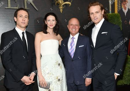 """Actor Tobias Menzies, left, actress Caitriona Balfe, Starz CEO Chris Albrecht and actor Sam Heughan attend the """"Outlander"""" Book Two world premiere and after party at the American Museum of Natural History, in New York"""