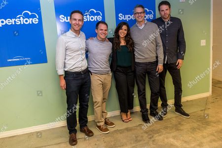 """Jonathan Green, left, Justin Spitzer, America Ferrera, Gabe Miller, and David Bernad arrive at """"Superstore"""" FYC event at UCB Sunset Theatre, in Los Angeles"""