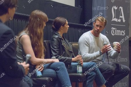 """Stock Image of Moderator Mark Olsen, from left, Director Marielle Heller, Bel Powley and Alexander Skarsgard attend """"The Diary of a Teenage Girl"""" screening and Q&A at Sundance Sunset Cinemas, in Los Angeles"""