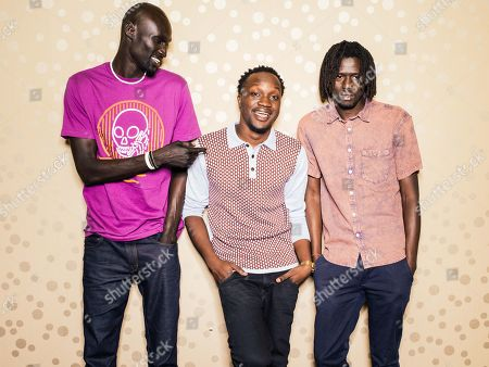 """Ger Duany, Arnold Oceng, and Emmanuel Jal pose for a portrait during press day for """"The Good Lie"""" at Le Montrose Hotel on in Los Angeles"""
