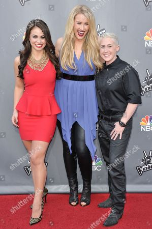 """Stock Picture of From left, Tess Boyer, Dani Moz, and Kristen Merlin appear at """"The Voice"""" Top 12 Red Carpet Event, in Universal City, Calif"""