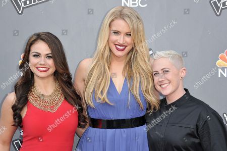 """Stock Photo of From left, Tess Boyer, Dani Moz, and Kristen Merlin appear at """"The Voice"""" Top 12 Red Carpet Event, in Universal City, Calif"""