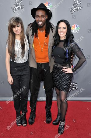 "From left, Christina Grimmie, Delvin Choice, and Kat Perkins seen at ""The Voice"" Top 12 Red Carpet Event on in Universal City, Calif"