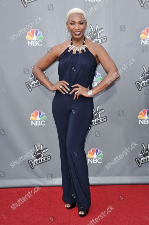 """Sisaundra Lewis seen at """"The Voice"""" Top 12 Red Carpet Event on in Universal City, Calif"""