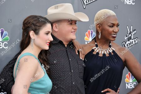"Stock Image of From left, Audra McLaughlin, Jake Worthington, and Sisaundra Lewis seen at ""The Voice"" Top 12 Red Carpet Event on in Universal City, Calif"