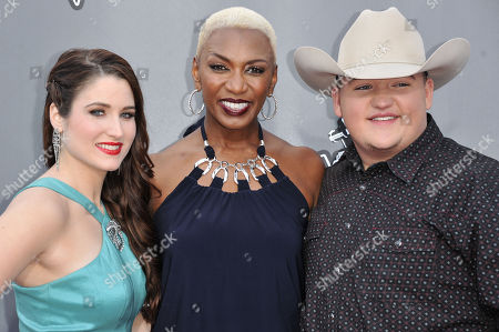 "From left, Audra McLaughlin, Sisaundra Lewis and Jake Worthington, are seen at ""The Voice"" Top 12 Red Carpet Event, in Universal City, Calif"