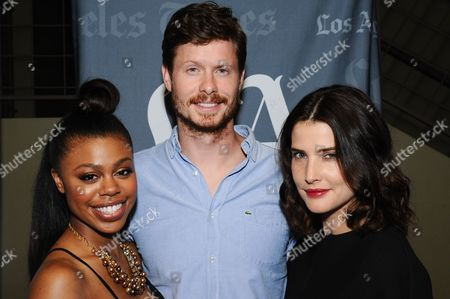 """Actors Gail Bean, from left, Anders Holm, and Cobie Smulders attend the """"Unexpected"""" Screening and Q&A held at Sundance Sunset Cinemas on in Los Angeles"""