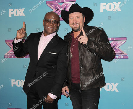 "Tate Stevens, right, and L.A. Reid attend the ""The X Factor"" season finale results show at CBS Television City, in Los Angeles"