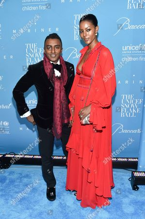 Chef Marcus Samuelsson and wife Maya Samuelsson attend the 12th Annual UNICEF Snowflake Ball at Cipriani Wall Street, in New York