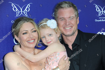 Rebecca Gayheart-Dane, from left, Billie Beatrice Dane, Eric Dane arrives at The 13th Annual Chrysalis Butterfly Ball at Brentwood County Estates, in Los Angeles, CA