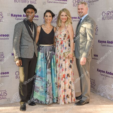 Aloe Blacc, from left, Maya Jupiter, Eric Dane and Rebecca Gayheart arrive at the 14th Annual Chrysalis Butterfly Ball held at the residence of Susan Harris and Hayward Kaiser, in Los Angeles