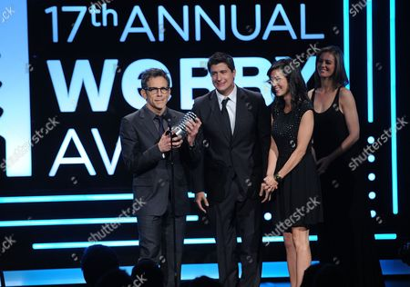 Actor Ben Stiller, Ken Marino and Erica Oyama attend the 17th Annual Webby Awards at Cipriani Wall Street on in New York