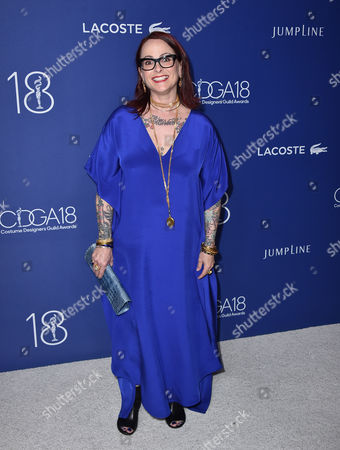 Julie Vogel arrives at the 18th annual Costume Designers Guild Awards at the Beverly Hilton hotel, in Beverly Hills, Calif