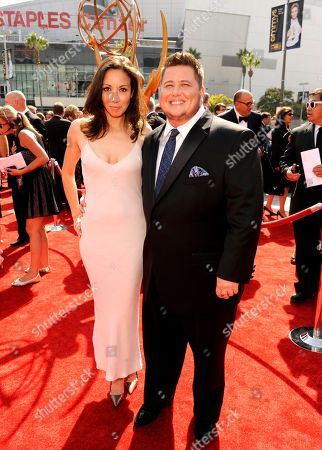 Stock Photo of LOS ANGELES, CA - SEPTEMBER 10: (L-R) Jennifer Elia and Chaz Bono attends the Academy of Television Arts & Sciences 2011 Primetime Creative Arts Emmy Awards at the Nokia Theater L.A. Live on in Los Angeles, California