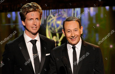 LOS ANGELES, CA - SEPTEMBER 10: (L-R) Josh Meyers and Paul Reubens are seen onstage at the Academy of Television Arts & Sciences 2011 Primetime Creative Arts Emmy Awards at the Nokia Theater L.A. Live on in Los Angeles, California