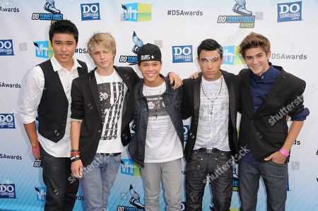Stock Photo of L-R) Will Jay, Dalton Rapattoni, Dana Vaughns, Gabriel Morales and Cole Pendery of the band IM5 attend the 2012 Do Something awards on in Santa Monica, Calif
