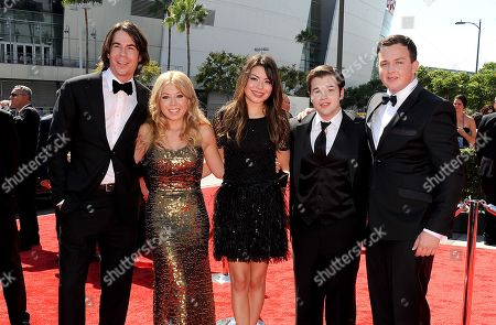 Stock Picture of SEPTEMBER 15: (L-R) Jerry Trainor, Jennette McCurdy, Miranda Cosgrove, Nathan Kress, and Noah Munck of Nickelodeon's iCarly arrive at the Academy of Television Arts & Sciences 64th Primetime Creative Arts Emmy Awards at Nokia Theatre L.A. Live on in Los Angeles, California