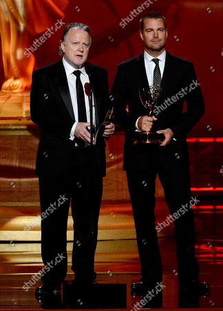 SEPTEMBER 15: (L-R) Shane Brennan and Chris O'Donnell onstage at the Academy of Television Arts & Sciences 64th Primetime Creative Arts Emmy Awards at Nokia Theatre L.A. Live on in Los Angeles, California