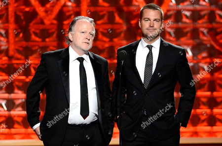 SEPTEMBER 15: Presenters Shane Brennan (L) and Chris O'Donnell onstage at the Academy of Television Arts & Sciences 64th Primetime Creative Arts Emmy Awards at Nokia Theatre L.A. Live on in Los Angeles, California