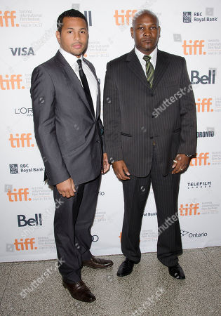 """Stock Image of Actors Mizinga Mwinga and Alain Bastien arrive at the premiere for the film """"Rebelle at Elgin Theatre during the Toronto International Film Festival, in Toronto"""