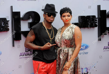 Ne-Yo, left, and Monyetta Shaw arrive at the BET Awards at the Nokia Theatre, in Los Angeles