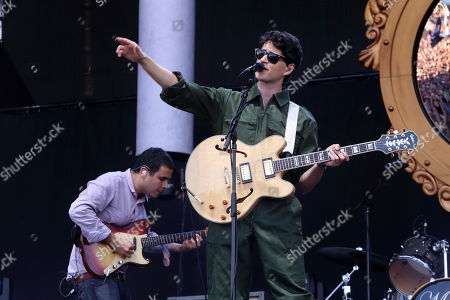 Rostam Batmanglij and Ezra Koenig with Vampire Weekend performs on day 1 of the 2013 Austin City Limits Music Festival at Zilker Park on in Austin Texas